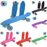 Jusenda 22inch Fish Board Mini Cruiser Skateboard Children Scooter Longboard Skate Boards Retro Penny Board Wheel Truck Bearings L0308