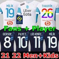 jogador versão 21 22 Camisola de futebol de Marseille Olympique milik maillot de foot om 2021 2022 Camiseta PAYET THAUVIN BENEDETTO MEN KIDS camisa de futebol número arco-íris