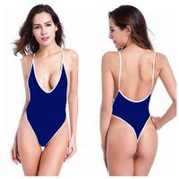 Купальники для женщин Сексуальный набор Два танкини спортивные одно целое бикини трехточечные слинг V-образным вырезом синий