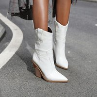 Boots Brand Women Pointed Toe Wedges Shoes Autumn Winter Short Ladies Western Ankle For