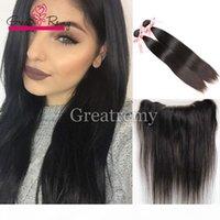2 stücke Straight Nerz Brasilianisches Haar mit frontaler natürlicher Spitze Frontalverschluss 13x4 mit Bündeln Jungfrau Menschliches Haar mit Ohr zu Ohr Frontal