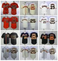 Retroor 1989 2004 Урожай бейсбол 25 Барри Облигаций Джерси Уйти в пенсию сшитые пуловер FlexBase Cool Base Team Black Orange White Grey Beige