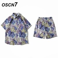 Men's Tracksuits OSCN7 Men Clothes Set Summer Mens Party Suit Club Beach Track Suits 2021 Boardshorts + Casual Print Shirts 2 Pcs Sets XC036