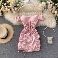 Плечо розовые белые сексуальные мини-бинты платье женщины 2021 летние тонкие рухнутые клубное платье одежда от Yuoomuoo ins модный