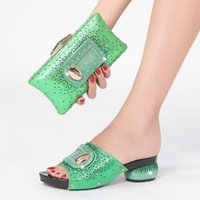 Slippers 2021 Rhinestone Women Fashion Banquet Wedding Summer Party Crystal Large Size 43 Set Bags Shoes Africa Nigeria