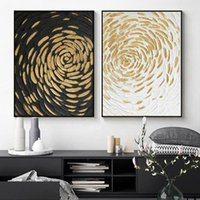 Paintings Abstract Golden Flowers Canvas Painting Black And White Background Wall Art Modern Luxurious Poster Print Picture Home Decor