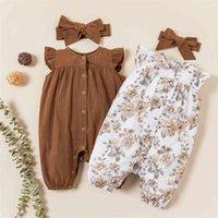 Baby / Toddler сплошной цветочный флаттерный рукав и набор повязки 210528