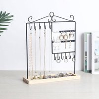 Jewelry Pouches, Bags Metal Frame & Wood Basic Tray For Earrings Bracelets Necklace Watch Accessories Holder-20 Holes 11 Hooks
