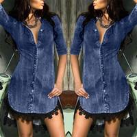 Robe décontractée Robe en denim d'été Femme Plus Tailles Col V-Col Vêche Solide Jeans Femmes manches courtes Slim Vêtements # G3