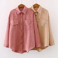 2021 Yeni Kadın Katı Kadife Batwing Kollu Vintage Bluz Turn-down Yaka Gevşek Üst Düğme Yukarı Pembe Gömlek Feminina Blusa