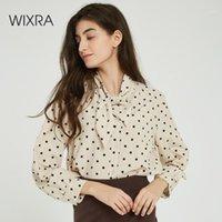 WIXRA Femmes Blouse à lacets pour femmes Dames à manches longues Dot imprimé Lâche Chemises 2020 Automne Printemps Tops Dames Vêtements1