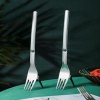 Forks 2-in-1 Watermelon Fork Slicer 304 Steel Fruit Portable Design Tableware Creative Kitchen Accessories R6S4