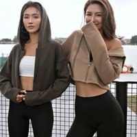 Women's Jackets 2021 Women Long Sleeve Sports Sweatshirt Hooded Waist Sculpting Fitness Top Running Jacket -40