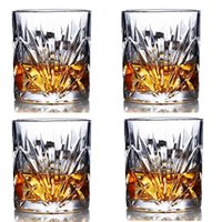 Wine Glasses Whiskey Premium Lead Free Glass Rock Style Old Fashioned For Drinking , Bourbon Set Of 4-10oz