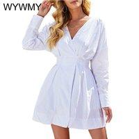 Casual Dresses WYWMY Women's Autumn Elegant A-Line France Party White Dress Spring V Neck Long Sleeve Mini Robe Femme