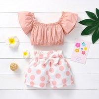 Clothing Sets Kids Clothes Girls Toddler Baby Off Shoulder Solid Tops+polka Dot Printed Shorts Outfits First Birthday Party Summer Dress