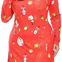 Платье Involand Рукав Женщины Длинные негабаритные Напечатанные Рождественские Труба Рождественское Вечеричное Платье