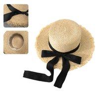 모자 모자 세련된 짚 태양 모자 자연 잔디 바누려 장식 핸드 짠 여행 해변 동반자 UV 해를 줄이기