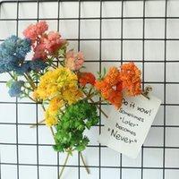 6 رؤساء النباتات الاصطناعية البلاستيك القرنبيزر النضرة النباتات diy الزفاف بوعاء النبات وهمية زهرة اكليلا المنزل الديكور