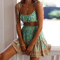 Boho Inspired 2pcs Set Green Womens Tracksuits Floral Print Summer Dress Straps Pleated Mini Skirt Gypsy Beach Suits