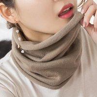 Lenços hlicyum mulheres cashmere knit anel 30 cm pescoço aquecedor cor sólida elástico conforto falso colarinho feminino inverno um lenço de loop