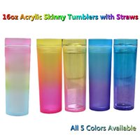 5 Colors 16oz Acrylic Skinny Tumblers with Straw Lid in Gradient Color Double Wall Ombre Plastic Straight Water Bottles Portable Rainbow Matte Colored Coffee Cup DIY
