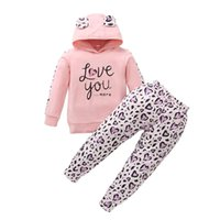 Clothing Sets 1-6 Years Girls Outfit Pink Sweet Style Letter Ear Decoration Hooded Sweatshirt Tops Heart Long Pants Spring Fall Set
