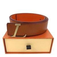 Homens Designers Cintos Moda Clássica Luxo Casual Letra L Buckle Liso Mulher Mens Cinto Largura 3.8cm com caixa laranja