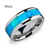 Alyans FDLK Lüks Moda 8mm Paslanmaz Çelik Erkekler Mavi İmitasyon Opal Kakma Asla Fade Nişan Yüzüğü Erkekler Takı