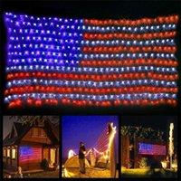 420 LED American Bandiera String String Lights Stati Uniti 110 V impermeabile luce netta per yard giardino festival festa festa decorazione natalizia