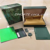 Top High Quality AAA+Luxury Watch Green Box Papers Gift Watches Boxes Leather Card For Rolex Wristwatches case Certificate