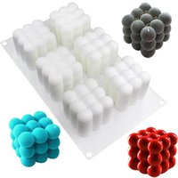Baking Moulds 6 Cavities Silicone Candle Mould 3D Cube Square Bubble DIY Non-stick Kitchen Dessert Cake Tray Oven Safe Molds Mats