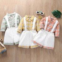 Kids Clothing Sets Boys Suits Baby Clothes Summer Short Sleeve Plaid Shirt Strappy Pants Shorts 2Pcs B7615