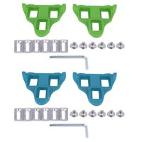 Bike Pedals 2 Set 6° Road Cleats Bicycle Lock For SPD System Shoes Float Cycling Shoes, Green & Blue