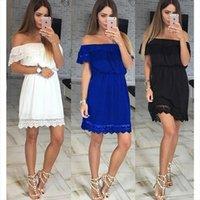 Leosoxs Moda Seksi Bayan Elbise Kapalı Omuz Mini Yaz Rahat Katı Dantel Yama İş Elastik Sunic Bayan Elbiseler