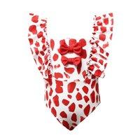 One-Pieces Kid Girls One-Piece Dots Printed Swimsuit Ruffle Sleeve Bowknot Bodysuit Beachwear Children's Swimwear 2-10Years