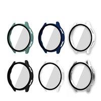 Caja protectora de protector de pantalla de vidrio de 9h para Samsung Galaxy Watch 4 40mm 44mm A prueba de golpes de choque cubierta de PC duro
