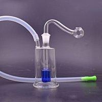 Großhandel Raucher Pfeife Glas Öl Burner Bongs Inline Matrix Percorrator Rauchen Recycler Öl Rigs Wasserhaare mit Glasölbrennerleitung und Schlauch