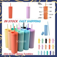 16oz Acrylic Tumblers Matte Colors Double Wall 500ml Tumbler Coffee Drinking Plastic Sippy Cup With Lid Straws