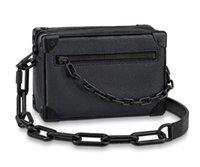Дизайнер мягкий багажник мини-цепь сумка натуральная кожа черная мужская мягкая коробка сумка мода унисекс сумки роскошные женские сумки посылки высочайшие качества