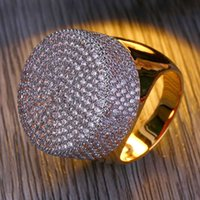 Mens Jewelry Rings Hip Hop Luxury Designer Engagement Rings Round Fully Iced Out CZ Diamond Bling Pandora Style Pinky Finger Rin