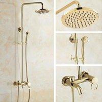 Bathroom Shower Sets Gold Color Brass Single Handle Wall Mounted Rain Head Bath Tub Faucet Set Telephone Shape Hand Spray Mgf404