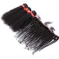 아프리카 변두리 곱슬 머리 머리 묶음 귀에 레이스 정면 4pcs kinky 곱슬 머리 묶음 13x4 레이스 정면 클로저와 3pcs