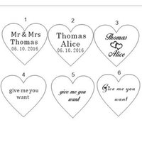 Party Favor Wholesale-50 pcs Customized crystal Personalized MR MRS Love Heart Wedding souvenirs Table Decoration Centerpieces Favors and Gifts LRGO