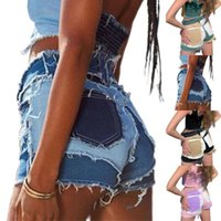 Women's Jeans Streetwer Shirts Pathchwork Ladies Summer Casual Fashion Mid-waist Tight Stitching Denim Shorts Pants Tassel