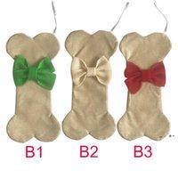 Stati Uniti Stock Decorazioni di Natale Decorazioni di Natale Sublimation Dog Bone Bone Calze di Natale PET Calza da imballaggio con bowknot Camino Xmas Tree Appeso Decorazione