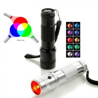 Nuevo Rainbow Colorshine Color Cambiando RGB LED Flashlight 3W Aleación de aluminio RGB EDISON LED Multicolor LED Arrillado de 10 Tordea de color