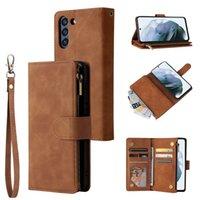 Samsung Galaxy S21 Fe A70 A70s A30S A50 A50S A40 A30 A20E A10 Note 10 Pro Note 9 S10 Plus S9 Plus S8 Plus Multi Card Zipper Wallet Cover