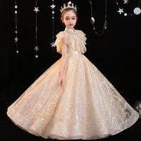 Yeni Varış Çiçek Kız Elbise Dantel Balo Toddler Spagetti Şampanya Tül Boncuklu El Yapımı Pageant Abiye Ile Bebek 2021