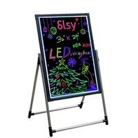 """조명 된 LED 메시지 쓰기 표지판, 16 """"x12""""지울 수있는 네온 효과 메뉴 기호 원격 제어 7 색 깜박이 모드가있는 보드 (12 * 16 in)"""